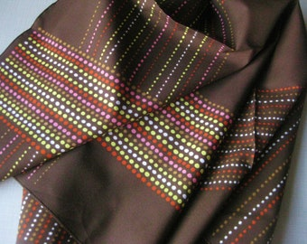 Scarf Chocolate Brown, Dots Nylon Polyester Vintage 1960s
