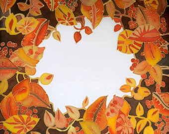 Autumn leaves hand painted silk scarf. Honey and mustard yellow scarf . Autumn colors silk scarf. Made to order.