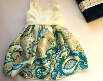Russian style silk dress hand painted for kids.Paisley hand painted dress. Navy blue,  turquoise and  white  silk dress. Made to order.