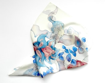 Pastel colored fantasy flowers silk scarf. Hand painted  pastel scarf. Hand painted blue and rose silk scarf. Ready to ship!