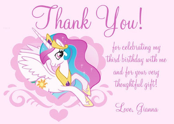 Items similar to MLP My Little Pony Thank You Card Digital