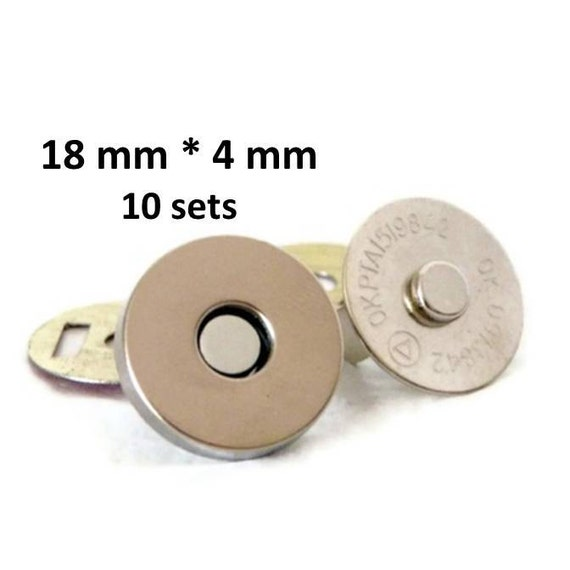 Magnetic Snap 18mm 10 sets 4mm thick Nickel Plated