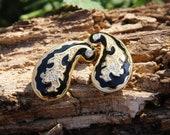 Black Paisley Sparkle Vintage Clip On Earrings