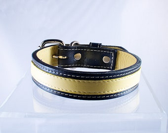 Leather Dog Collar Classic Yellow Small