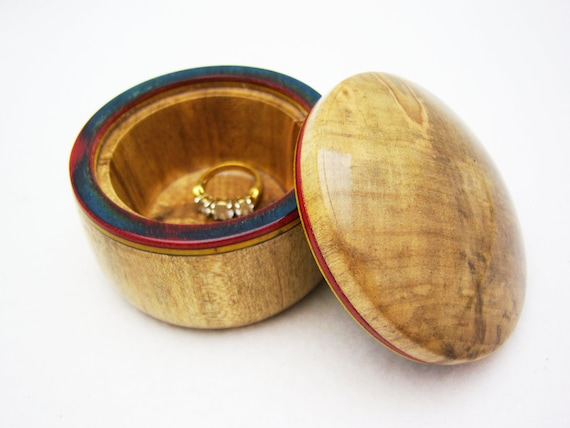 Wood Ring Box Lidded - Beautifully Spalted Maple Wood Box with Rainbow Birch inlay