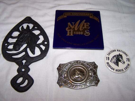 Lot of Horse items, morgan anniversary tile, trivet and belt buckle and pin vintage souvenirs