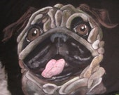 PRICE REDUCED Hand Painted Pug , King sized Pillow case