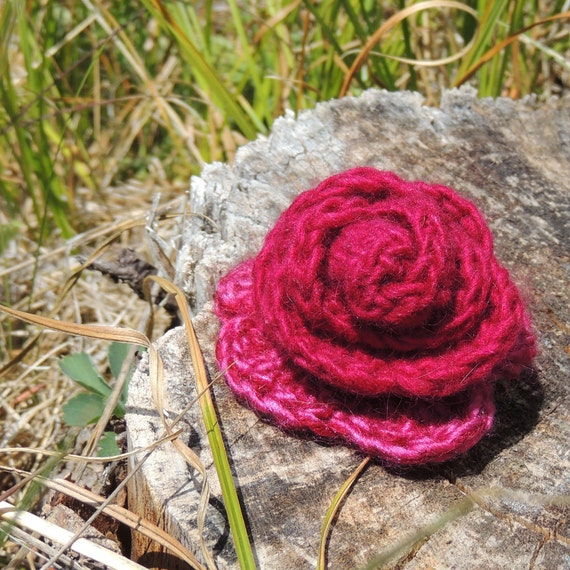 Burgundy Wine Crocheted Rose with Pin Back
