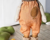 Handmade doll clothes - carroty overalls.