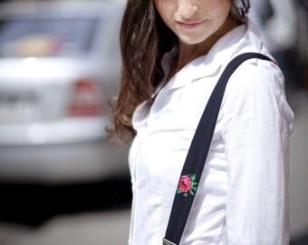 Patterned suspenders, Adjustable black womens suspenders, girls suspenders, suspenders with roses and stripes, gift for her, floral braces