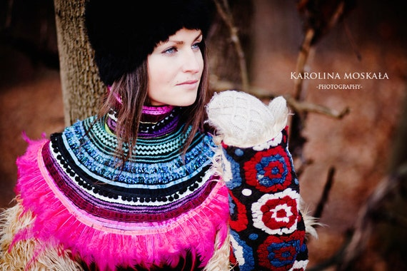 Ethnic Jewelry, Pink Feathers Necklace, Ethnic Necklace, Magenta  Collar, Burning Man Costume, gift for her, for artists