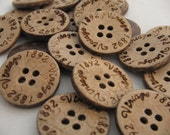 Natural Coconut Engraved buttons w/ Vintage 1892