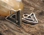 2 pcs Findings-supplies-silver plated -triangel pendant