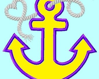 Ship Anchor Applique Embroidery Design 3 sizes INSTANT DOWNLOAD