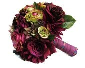 Silk Bridal Wedding Bouquet with Plum  and Mauve Roses, Green Ranunculus, Mauve and Plum Dahlias