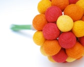 Orange Bridal Bouquet for your Autunm Wedding, Craspedia Flowers, Fall Needle Felt, Everlansting, Billy Button Balls, Classic Country Bride