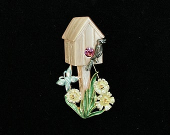 Vintage Birdhouse Pin Brooch 1980s Birdhouse Brooch