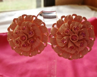 Vintage Pink Celluloid Earrings by CJW