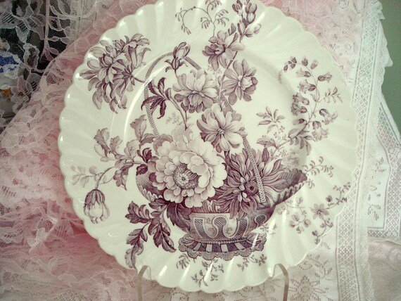 Vintage Clarice Cliff Royal Staffordshire Plate Lavender Purple Transferware
