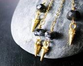 Rockin' Snowflake Obsidian & Spike Earrings
