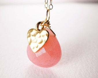 Coral Jade Teardrop with Gold Plated Heart Necklace - Love Hearts, Gift for Her, Valentine's Gift, Under USD50