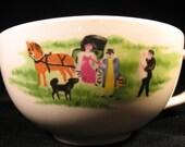 Set of rare Vintage Grandma Moses Tea Coffe Cup Mug Picture of Horse Drawn Carriage Rustic Decor Farmhouse Decor