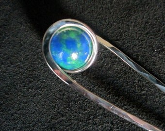 Handcrafted Hair Pin in Nickel Silver with Mother Earth sphere - Your CHOICE of Length - Haar Gabel - Metal Hair Fork