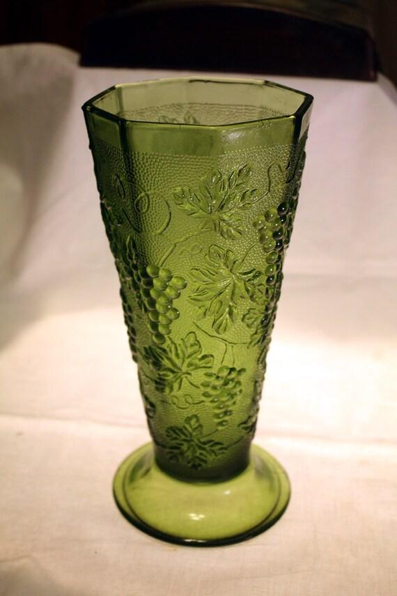 Vintage Green Depression Glass Grape Amp Leaf Pattern Vase