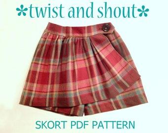 SALE! Twist & Shout - Girl's Skort Pattern PDF. Girl Sewing Pattern. PDF Skirt Pattern. Toddler Pattern. Sizes 1-10