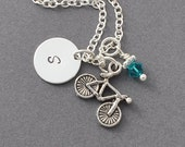 Bike Necklace, Birthstone Initial Necklace, Monogram, Bicycle Necklace, Bike Necklace, Sports Jewelry, Bike Team, cycling necklace