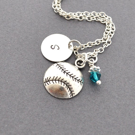 Baseball Charm Bracelet: Softball / Baseball Necklace Birthstone Initial By JewelMango