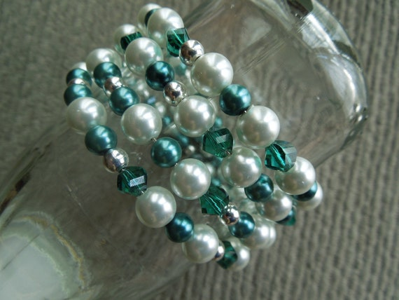 Teal Crystal, Silver and Pearl Cuff Bracelet