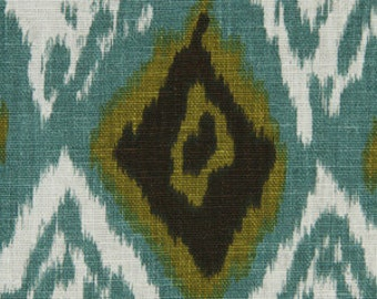 ON SALE - Teal Linen Ikat Upholstery Fabric