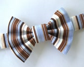 Brown and Blue Striped Bow Tie