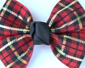 Christmas Hair Bow - Christmas Plaid Hair Bow - Plaid Hair Bow - Red Gold Black Hair Bow