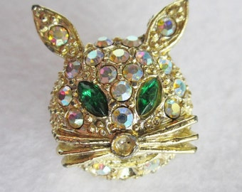 Vintage Rhinestone Cat Face Brooch