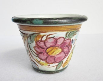 Vintage Italian Ceramic Planter, Small Painted Planter, Small Garden Pot, Italian Pottery, Painted Flower Pot