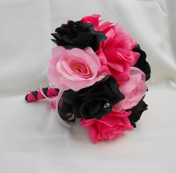 Dark Pink Wedding Flowers: Wedding Bridal Bouquet Your Colors Hot Pink Black By