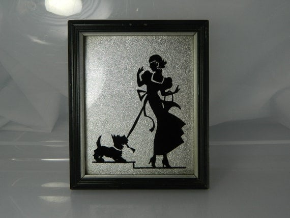 Lady and scotty dog Silhouette Reversed Glass Painting, Deltex Product Co