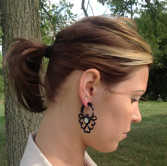 Fake Gauge Earrings, Hand Carved, Horn with M.O.P. Inlay, Naturally Organic, Tribal