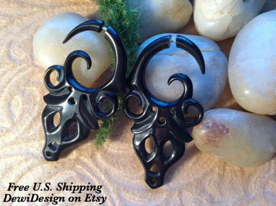 "Fake Gauge Earrings, ""Tribale"" Naturally Organic, Horn, Hand Carved, Tribal"