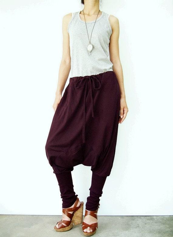 NO.58 Plum Cotton Jersey Harem Pants, Yoga Pants,  Drawstring Trousers, Unisex Pants