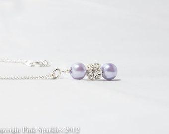 Lavender Pearl Rhinestone Necklace, Bridal Necklace, Wedding Jewellery