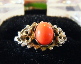 "Mid Century Modern ""Vogue"" Designer Coral Ring Hard To Find Fabulous Piece Of Jewelry"