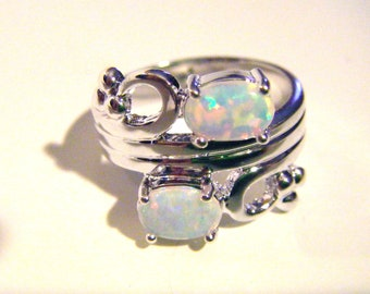 White Fire Opal Ring in Sterling Silver 925 Setting Size 7 1/2