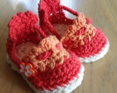 Baby Espadrille Booties  Pumpkin and Apricot 0-6 months