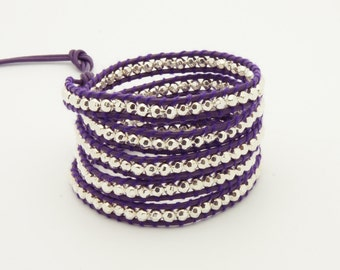 Wrap Bracelet  Purple Leather - Silver Beads