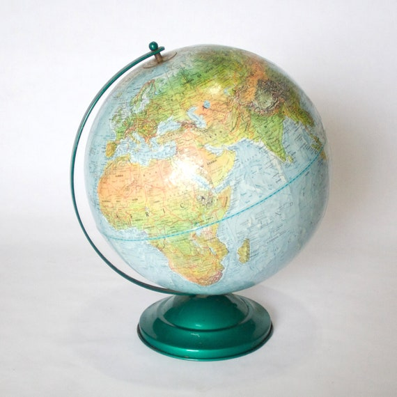 "Vintage 1960's Replogle Land and Sea Raised Relief 12"" Globe"
