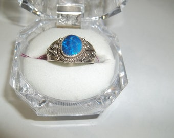 Rare Blue Fire Opal set in Sterling Silver  Size 10 Ships Free in USA  Thanksgiving, Black Friday, Cyber Monday, Christmas