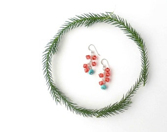 SALE // 20% off // sterling silver crystal earrings // coral and turquoise jewelry
